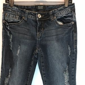 Milan women's jeans low rise flared distressed 9